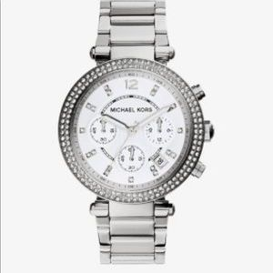 Michael Kors silver watch with stones